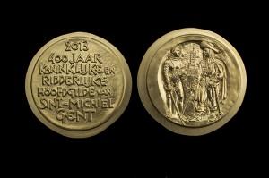 Bronzen medaille uitgegeven ter gelegenheid van de vieringen voor 400 jaar Sint-Michielsgilde