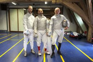 De winnaars op sabel: vlnr: Olivier Antonis, Renaud Poizat en Godefroid Bottecchia. Foto: Luc Gevaert.