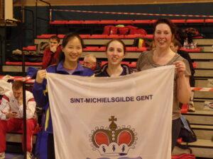 Topteam pakt zilver op het BK in ploeg! Vlnr: Nan Van Rijckeghem, Manon Bloch en Kathleen Kets. Foto: Sylvie Delsaux.
