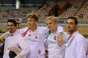 Topteam strikes again!!Vlnr: Samuel Roudbar, Felix Blommaert, Nicolas Poncin en Simon Lapin. Foto: Johan Blommaert.
