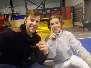 Jurre Devos met idool, trainer en Olympiër Seppe Van Holsbeke: nummer 1!!!! Foto: Liesbet Coysman