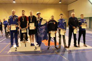 BK senioren degen, met op de 2de plaats Maxime Baeckelandt, op de 6de plaats Robin Ponnet en op nr. 8 Felix Blommaert. Foto: Johan Blommaert.