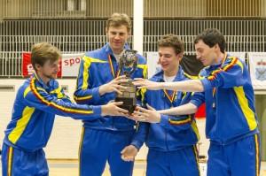 Trotse kampioenen! Vlnr: Servaas Breyne, Seppe Van Holsbeke, Jules-Emile De Visscher en Frederik Simoen. Foto: Luc Gevaert.